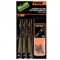 Fox Edges Dark camo leadcore heli rigs x 3 kit CAC574