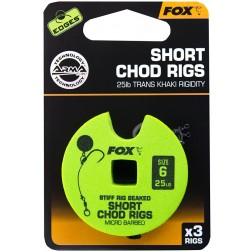 Fox Edges Stiff Chod Rigs Short x3 25lb Size 6 CCR164